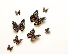 wall butterflies, yellow-orange butterfly wall art by hipandclavicle on Etsy Orange Butterfly, Butterfly Wall Art, Paper Butterflies, Dragon Silhouette, Wall Safe, Orange Paper, 3d Wall Art, 3d Paper, Paper Crafts