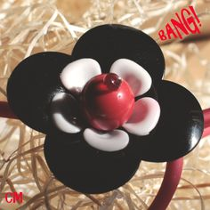 Red necklace with black flower - BANG! by LeCoucouDesign on Etsy