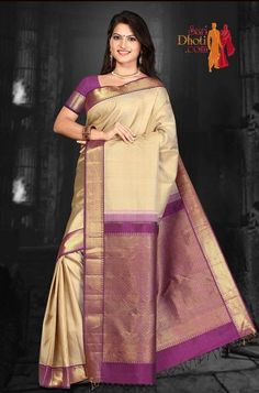 Offwhite color body with Purple color Korvai border #kanchipuramsarees at http://www.saridhoti.com