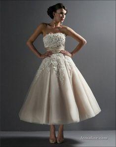 111 elegant tea length wedding dresses vintage (88)