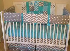 Crib Bedding Set Aqua Gray and White Bumperless