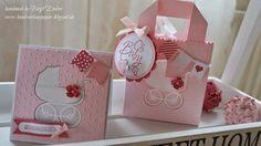 HandWerk aus Papier: Schnulleralarm! Der Nachwuchs ist da! StampinUp    Rosanes Set zur Geburt, bestehend aus einer Karte und eine kleinen Tasche aus Papier.  Kinderwagen, Blume, Fahne