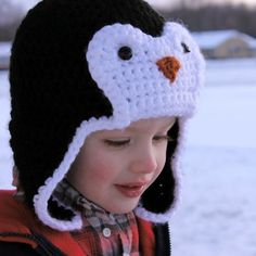 crochet penguin bomber hat
