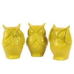Ceramic Owl No Evil Assortment Of Three Gloss Amber