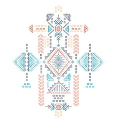 Tribal vintage ethnic seamless vector by transia on VectorStock Hand Embroidery, Embroidery Designs, Scandinavian Folk Art, Mayan Symbols, Tribal Patterns, Mural Art, Indian Art, Sacred Geometry, Pattern Wallpaper