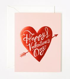 Beautiful card with red foil heart, arrow and script. The timeless heart design features romantic hand-lettering and is printed in red foil. Outside: Happy Valentine's Day Inside: Blank. Printed full color on natu My Funny Valentine, Happy Valentines Day Card, Valentines Day Hearts, Valentine Wishes, Valentine Ideas, Carton Invitation, Invitations, Love Days, Colorful Candy