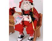 """Peddlers of Danville - A quilted worried Santa Doll 22"""" tall Sewing Pattern - The Toy Maker"""