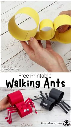 This Walking Ant Craft is so fun and easy to make with a free printable ant craft template. Make your paper ant puppets move with a twist of your wrist! Ant Crafts, Easy Preschool Crafts, Animal Crafts For Kids, Paper Crafts For Kids, Craft Activities For Kids, Toddler Crafts, Diy For Kids, Insect Crafts, Toddler Activities