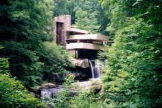 Vintage design Frank Lloyd Wright ..fallingwater house.
