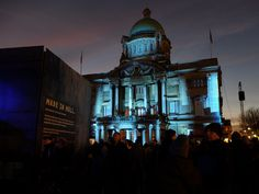 Crowds gather to watch the amazing light installations in Queen Victoria Square for #MadeInHull