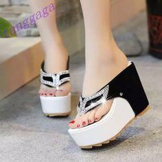 Summer Girls Flip Flop Leisure Eyes Rhinestones Platform Wedge Slipper Shoes
