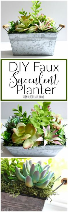 Make your own DIY faux succulent planter using dollar store succulent stems, moss and metal bucket
