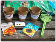 Planting Sunflowers with Toddlers.  Includes books and activity too!
