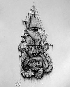 Amazing idea for a tattoo ♥ - Tattoos - Pirate Skull Tattoos, Pirate Ship Tattoos, Octopus Tattoos, Leg Tattoos, Body Art Tattoos, Sleeve Tattoos, Tattoos For Guys, Pirate Tattoo Sleeve, Tattoo Guys