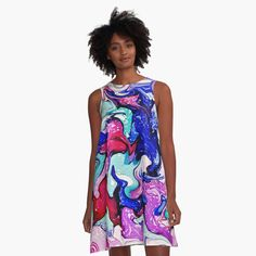 'Abstract A-Line Dress by artbylucie Alcohol Ink Art, Designer Dresses, Chiffon Tops, Classic T Shirts, Abstract, Unique, Fabric, Clothing, Women