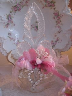 Home Decor-Roses and Pearls Embellished Perfume Bottle -I like the plate