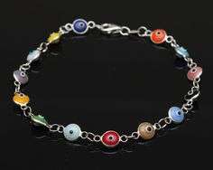 Colorful Evil Eye Bracelet  925 Sterling Silver by SilverLiningStr