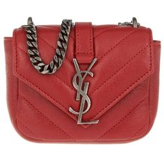 Saint Laurent Small Leather Goods - YSL Mini Monogram Wallet New Red -... (£445) ❤ liked on Polyvore featuring bags, wallets, red, pocket wallet, monogram wallet, yves saint laurent, leather flap wallet and mini bags