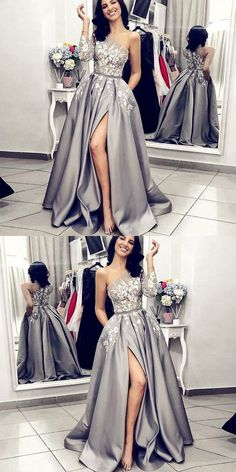 A-Line One Shoulder Split Front Grey Long Prom Dress with Pockets Lace, Shop plus-sized prom dresses for curvy figures and plus-size party dresses. Ball gowns for prom in plus sizes and short plus-sized prom dresses for Prom Dresses For Teens, Prom Dresses Long With Sleeves, Unique Prom Dresses, Lace Evening Dresses, Trendy Dresses, Nice Dresses, Formal Dresses, Dresses Uk, Long Dresses