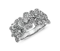 Monique Lhuillier Floral Diamond Ring in 18k White Gold Very Unique!