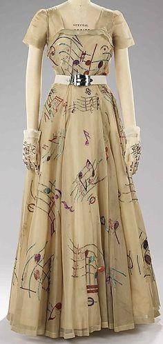 circa 1930's Elsa Schiaparelli Evening Gown