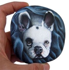 Good morning, guys! I just finished a new close-up portrait of a nice french bulldog named Rocky! It's hand painted in acrylic on a smooth sea pebble, signed on the back and protected with a layer of matt varnish. What a unique gift idea! Contact me to order your pet portrait or visit my Etsy shop: www.etsy.com/RobertoRizzoArt | #dog #dogportrait #petportraits #paintedstones #paintedrocks #rockpainting #art #fineart #etsy #robertorizzo