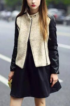 Leather Biker Jacket with Beige Duffle Front - US$33.95 -YOINS