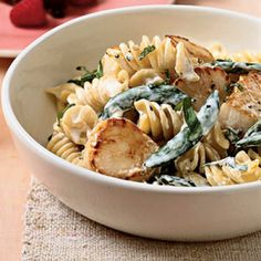 Fusilli with Scallops and Peas + 11 Fresh Fruit and Veggie Recipes for #Spring   health.com