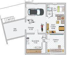 Plan habillé Soussol - maison - Une maison évolutive et innovante Floor Plans, House Design, Home, Learning Fractions, Homes, Ad Home, Architecture Design, House Plans, Home Design