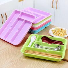 Tableware Organizer Storage Box Cutlery Tray Multi-purpose Finishing Drawer Boxes Kitchen Cutlery Drawer Organizer  #Affiliate