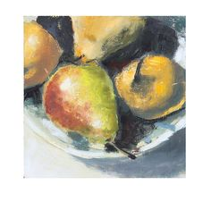 Fruit Still Life Painting Pears on Wood Panel kitchen by HOomen