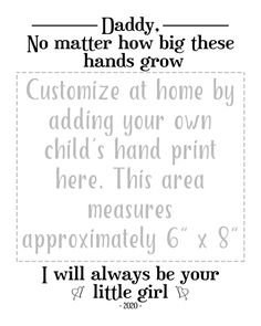 Personalized Father's Day Gift from Daughter Dad Gift   Etsy Personalized Fathers Day Gifts, Gifts For Dad, Fathers Day Coloring Page, Handprint Art, Kids Hands, Print Templates, Painting For Kids, How To Memorize Things, Dads
