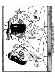 A colorier, des femmes égyptiennes qui se reposent.