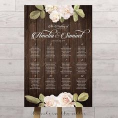 Vintage floral wedding seating chart with wooden background and white flowers elegant script writing style guest seat assignments DIGITAL by HandsInTheAttic Head Table Wedding, Wedding Reception Seating, Wedding Table Flowers, Seating Chart Wedding, Seating Charts, Wedding Centerpieces, Floral Wedding, Wedding Decorations, Wedding White