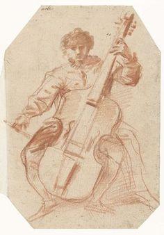 Viola da gamba-speler, en face, Pier Francesco Mola, 1645 - 1650 Cello, Violin, Guitar, Double Bass, Sculpture, Renaissance Art, Art Music, Musical Instruments, Old Photos