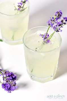 This Lavender Lemonade recipe from @addapinch is made with honey, fresh lavender, and lemons for a beautiful twist on classic lemonade.
