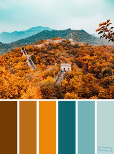 59 Pretty Autumn Color Schemes { Shades of autumn leaves   blue teal } - Fabmood | Wedding Colors, Wedding Themes, Wedding color palettes