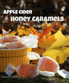 These delicious Apple Cider Honey Caramels are made using fresh apple cider, butter, honey, & a dash of cinnamon. (They freeze well too! Caramel Recipes, Honey Recipes, Fall Recipes, Whole Food Recipes, Cooking Recipes, Delicious Desserts, Yummy Food, Tasty, Cobbler