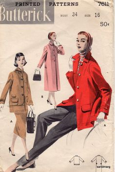 Items similar to Vintage Butterick 7611 Coat and Jacket Sewing Pattern Size  16 Bust 34 on Etsy bfb2a46ae