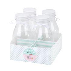 4 Milchflaschen mit Box