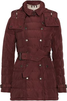 Burberry Brit|Hooded quilted down coat|NET-A-PORTER.COM
