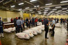 O salão do leilão no Mercado de Peixes.