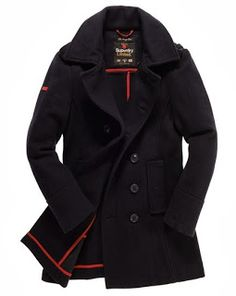Navy coat by Superdry