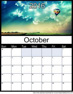 October 2016 Printable Monthly Calendar