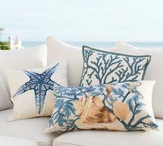 LOVE those pillows! Good site for decorating ideas if you like coastal-modern design. Coastal Bedrooms, Coastal Living Rooms, Coastal Cottage, Coastal Homes, Coastal Style, Coastal Decor, Coastal Curtains, Coastal Bedding, Coastal Farmhouse