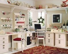 I think this is Pottery Barn, at least the desks and cabinets. This is very much what I would want if I could afford it.