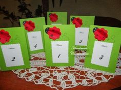 Numere de masa  (handmade table numbers with ladybug)