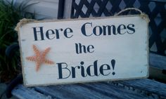 Beach Wedding Sign Package Starfish Here Comes The Bride and Bride Groom chair signs Tropical Weddings Maui Weddings Nautical Weddings Beach Wedding Signs, Wedding Chair Signs, Beach Wedding Reception, Beach Wedding Invitations, Nautical Wedding, Maui Weddings, Tropical Weddings, Starfish Wedding Decorations, Peach Mint Wedding
