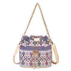 Women Chain Bucket Bags Bohemia Style Shoulder Bags Crossbody Bags