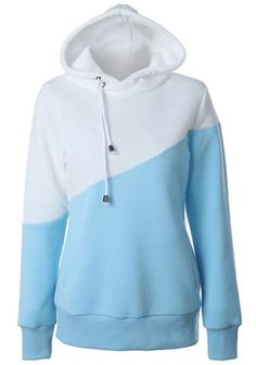 Blue Color Block Drawstring Hooded Casual Polyester Pullover Sweatshirt